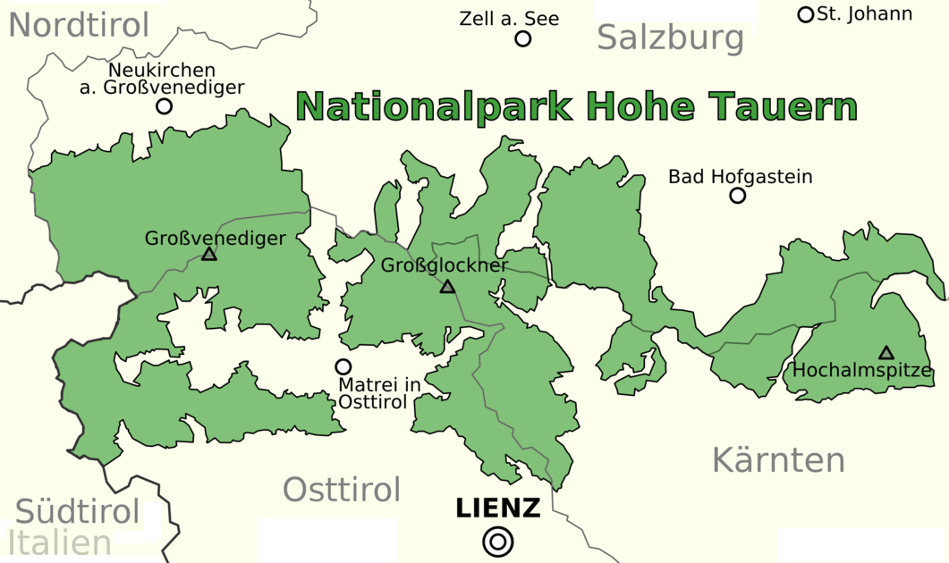 Hohe Tauern National Park map